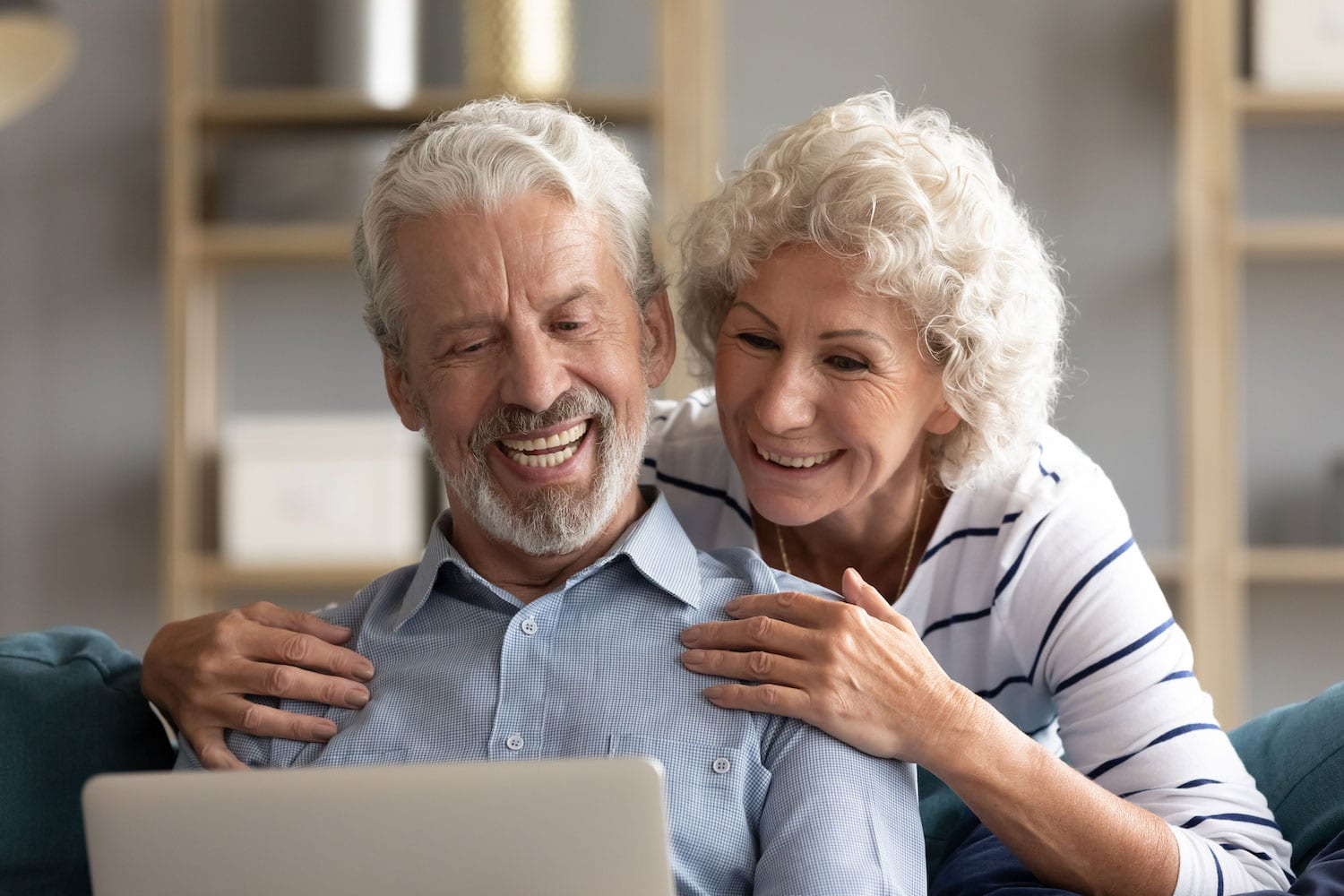 elderly couple during virtual appointment