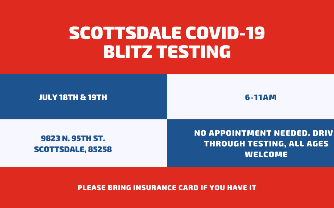 Drive-Through COVID-19 Blitz Testing, July 18th & 19th