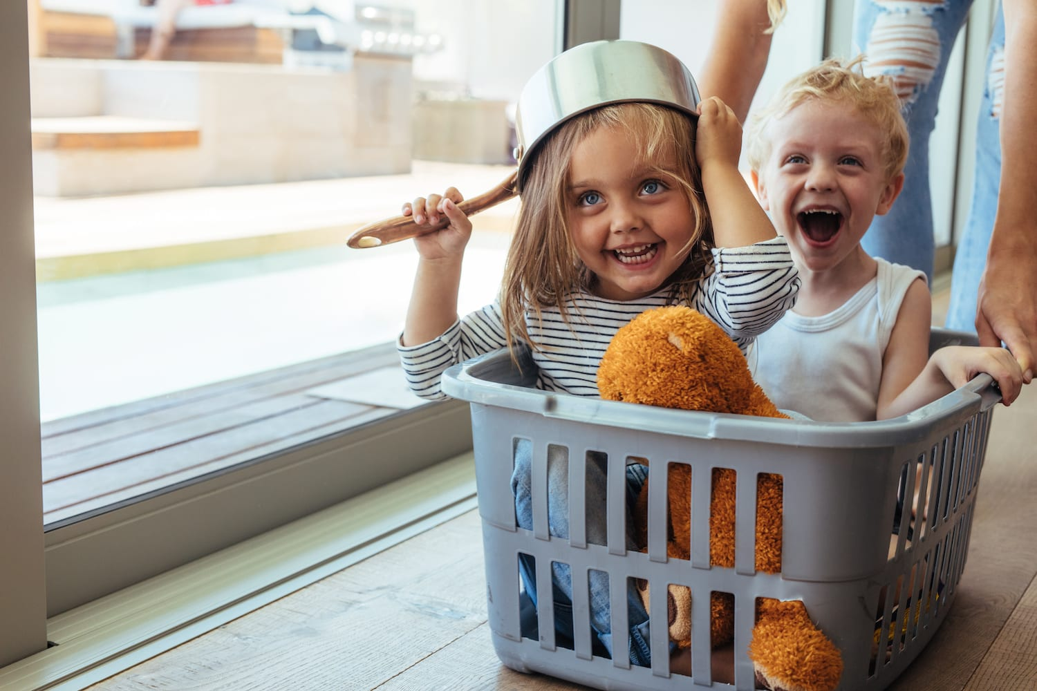 Kids rides in a laundry basket | Dr.Michelle