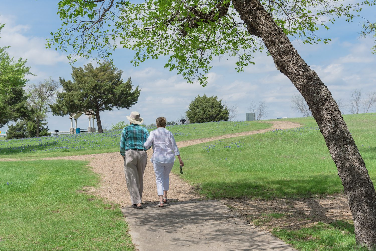 Rear view of happy Caucasian senior couple walking on pathway in the Bluebonnet park in Ennis, Texas, USA. Lady right hand hold sunglasses. Free, clear, healthy and happy retirement concept | Clarity Hearing
